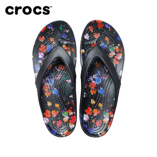 Crocs女拖鞋2021春季新款卡骆驰卡迪女士印花人字夹脚凉拖|206866