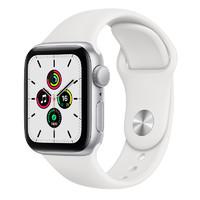 Apple 苹果 Watch SE 智能手表 44mm GPS版 银色铝金属表壳 白色橡胶表带 (GPS)
