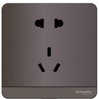 Schneider Electric 施耐德电气 插座面板 10A五孔插座 绎尚系列 荧光灰色 E83426_10US_SL_C1