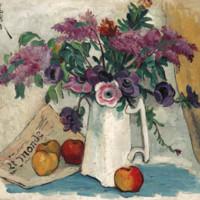 雅昌 潘玉良《紫藤蘿與紅蘋果》71×61cm 裝飾畫 油畫布