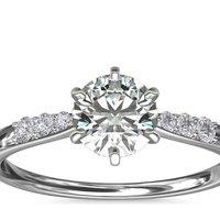 BLUE NILE 六爪小巧密钉钻石订婚戒指 14k 白金