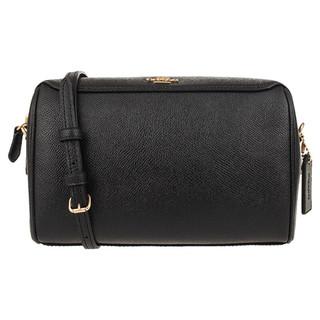 COACH 蔻驰 奢侈品 女士小号波士顿桶包单肩斜挎包黑色牛皮革 F76629 IMBLK