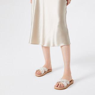卓诗尼女鞋2021新款拖鞋女夏外穿仙女凉拖珍珠沙滩凉鞋平底一字拖