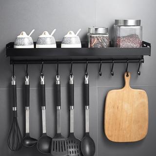 厨房调味品置物架 免打孔壁挂式 黑色调料收纳架挂架挂杆挂钩家用 黑色 40cm(带杆+6钩)【打孔/免打孔 双用】