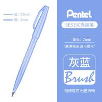 日本PENTEL派通TOUCH彩色软头笔Brush手账贺卡花体手绘软笔签字笔练字笔秀丽笔 新色-灰蓝色
