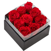 别漾花 红丝绒玫瑰永生花 经典方盒