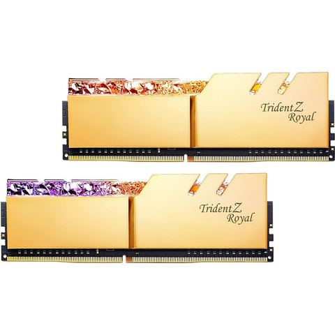 芝奇(G.SKILL)32GB(16Gx2)套装 DDR4 4000频率 台式机内存条-皇家戟RGB灯条(光耀金)