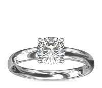 1.00克拉圆形切割钻石+ 经典内圈卜身设计单石戒托