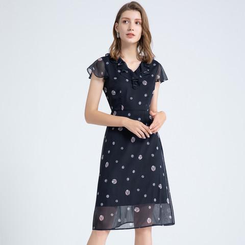 2021年夏季简约休闲雪纺短袖气质印花中长款裙子连衣裙