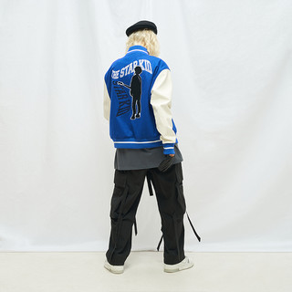 MODITEC 20秋冬 蓝白羊绒皮袖拼接夹棉棒球外套 乐队主题刺绣棉服