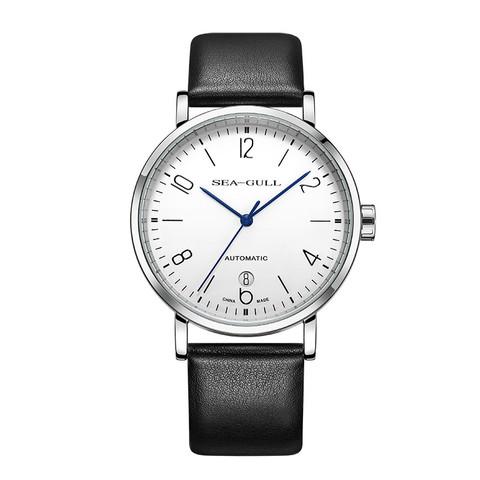 海鸥表(SEAGULL)手表大三针显示6点日历自动机械表皮表带男表 女表 国民系列 6091