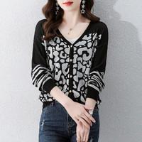 拉夏贝尔旗下春季新款时尚百搭气质通勤显瘦女式针织衫