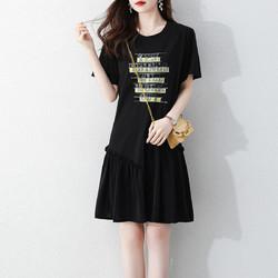 La Babite 拉贝缇 拉夏贝尔旗下夏季新款简约舒适显瘦鱼尾裙圆领T恤连衣裙
