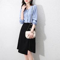 拉夏貝爾旗下春秋新款簡約時尚單排扣門襟開衫半截裙顯瘦套裝女