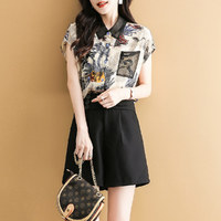 拉夏貝爾旗下夏季新款時尚印花百搭簡約短袖短褲女式套裝