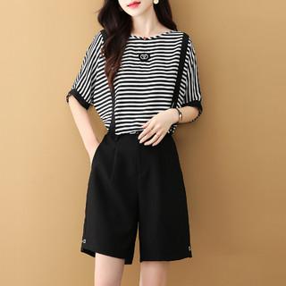 拉夏贝尔旗下夏季新款个性时尚简约百搭显瘦上衣+裤子套装