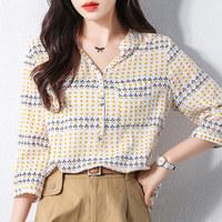 拉夏贝尔旗下夏季新款时尚简约个性百搭V领衬衫女