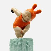 稀奇艺术 瞿广慈《掷铁饼baby》35X22X13cm 雕塑 玻璃钢手绘