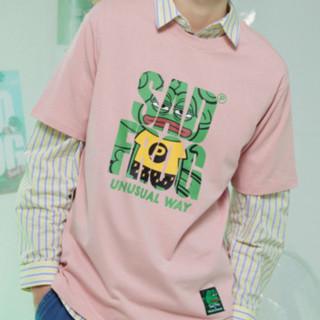 Meters bonwe 美特斯邦威 悲伤蛙联名系列 男女款短袖T恤 618008 粉色 M