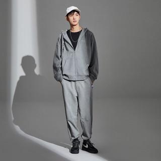 太平鸟男装  时尚开衫卫衣男运动灰色连帽反光设计外套潮 L 灰色