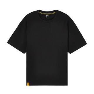A21 男装宽松圆领情侣短袖男国潮T恤男士上衣女新疆棉 170/84A/M 黑色