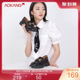 奥康 女鞋 2021春季新款黑色小皮鞋英伦风百搭复古jk厚底乐福鞋 黑色 39