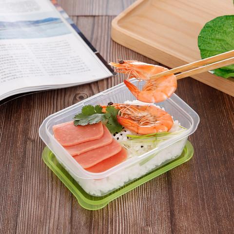 美丽雅 晶彩塑料保鲜盒方形520ml*4件套 一次性饭盒一次性餐盒餐具打包盒便当盒冷冻盒