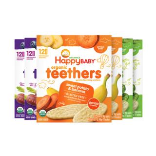 HappyBABY 禧贝 有机磨牙饼干 蓝莓紫胡萝卜味+香蕉甘薯味+青豆菠菜味 48g*6盒