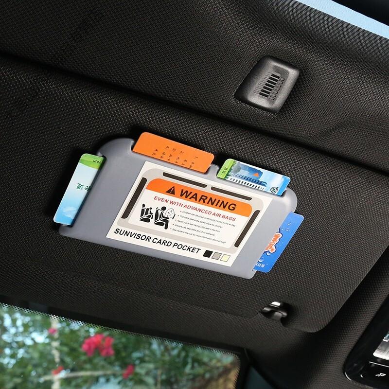 大言山 汽车遮阳板卡片夹车用卡夹车载插卡器卡槽多功能卡片收纳车内用品 灰色