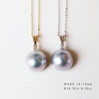 PearlYuumi 天然绝美天蓝色马贝吊坠18K金 钻石0.05ct(链子另售)