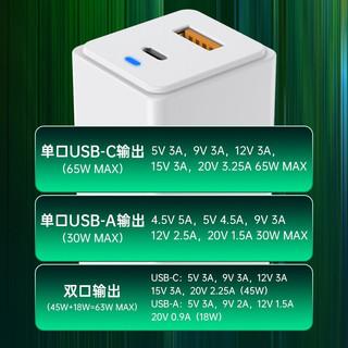 绿巨能 65W充电器氮化镓type-c快充苹果电脑macbook小米华为笔记本电源适配器GaN手机 65W充电器套装 口红款
