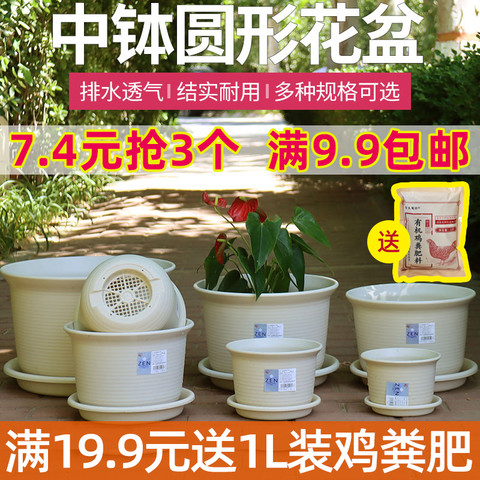 爱丽思圆形树脂花盆绿萝多肉植物盆栽阳台种菜塑料爱丽丝花盆中钵