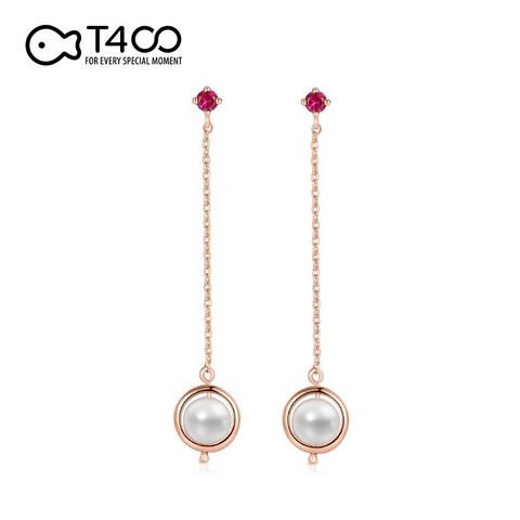 T400 耳钉淡水珍珠女欧美复古风玫瑰金长款时尚耳坠 玫瑰金20439