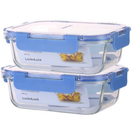 LOCK&LOCK 乐扣乐扣 耐热玻璃保鲜盒 两件套 640ml