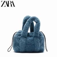ZARA 16806710009 女士蓝色人造皮草毛绒迷你斜挎包
