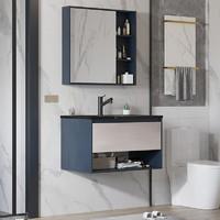 PLUS会员:VAMA 岩板浴室柜 80cm-黑金岩板(普通镜柜)含龙头配件