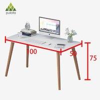 PULATA 电脑桌台式家用实木腿书桌 北欧简约笔记本办公学习桌子100*50cm 暖白色 QX10001