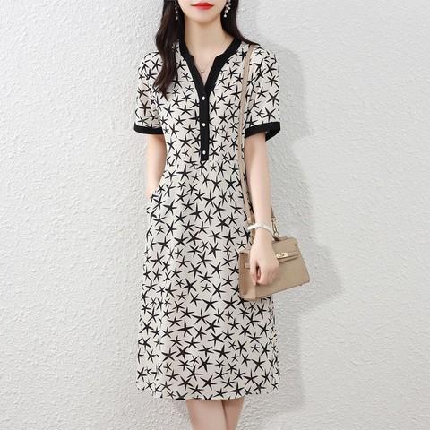 连衣裙2021新款气质减龄时尚洋气雪纺女夏短袖中长过膝裙子