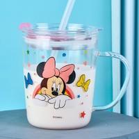 迪士尼(Disney)儿童水杯 宝宝吸管杯高硼硅玻璃牛奶杯学生防漏防摔水杯带刻度350ML  米妮+凑单品