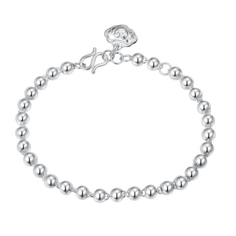 佰色传情(BRIR) 纯银S990手链3-5mm光珠银手圈百搭手饰女正品