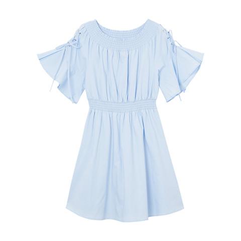 春夏连衣裙一字肩收腰显瘦甜美女士连衣裙