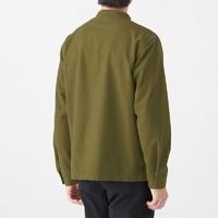 无印良品 MUJI 男式 新疆棉 法兰绒 立领纯棉休闲衬衫 卡其绿 M