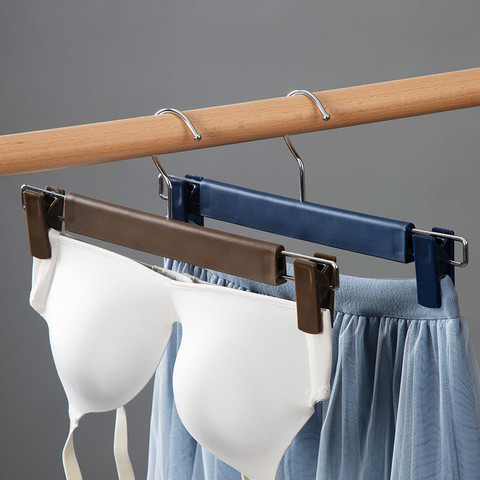 茶花裤架裤夹子塑料家用多功能衣柜伸缩凉衣架强力裤夹裤挂不锈钢