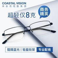镜宴  钛+金属-半框-4017BK-黑色 镜框+ A3 1.60依视路非球面镜片(现货)