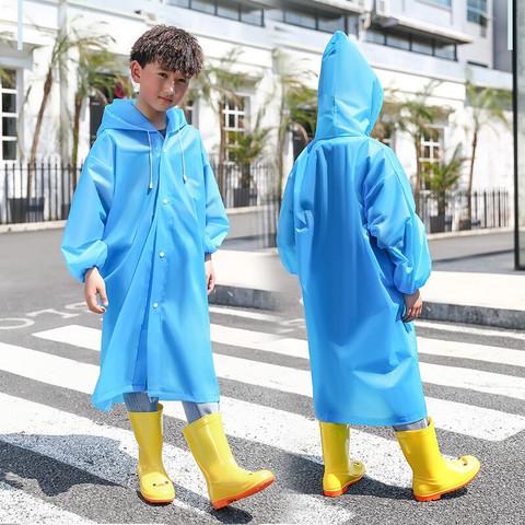 眸柳儿童雨衣女小学生男童雨披套装防水全身幼儿园宝宝上学衣加厚小孩 蓝色均码