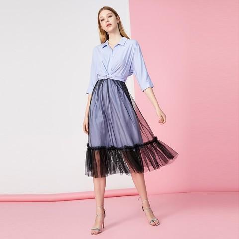 Vero Moda新款复古双层纱裙设计感衬衫连衣裙|31936Z510