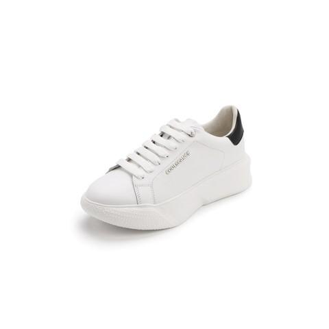 百丽新商场同款牛皮革/PU女休闲小白鞋