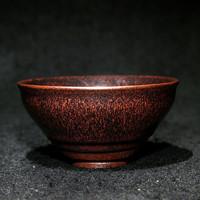 武夷建盏 连利斑大师出品 纯手工铁锈花建盏茶杯