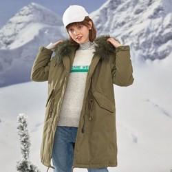 TEENIE WEENIE 女装中长款大毛领羽绒服