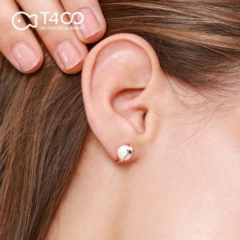 T400 淡水珍珠耳钉女复古法式优雅S925银 玫瑰金